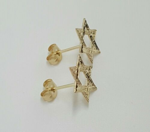 14k Solid Yellow Gold Star of David Stud Earrings Push Back 11MM