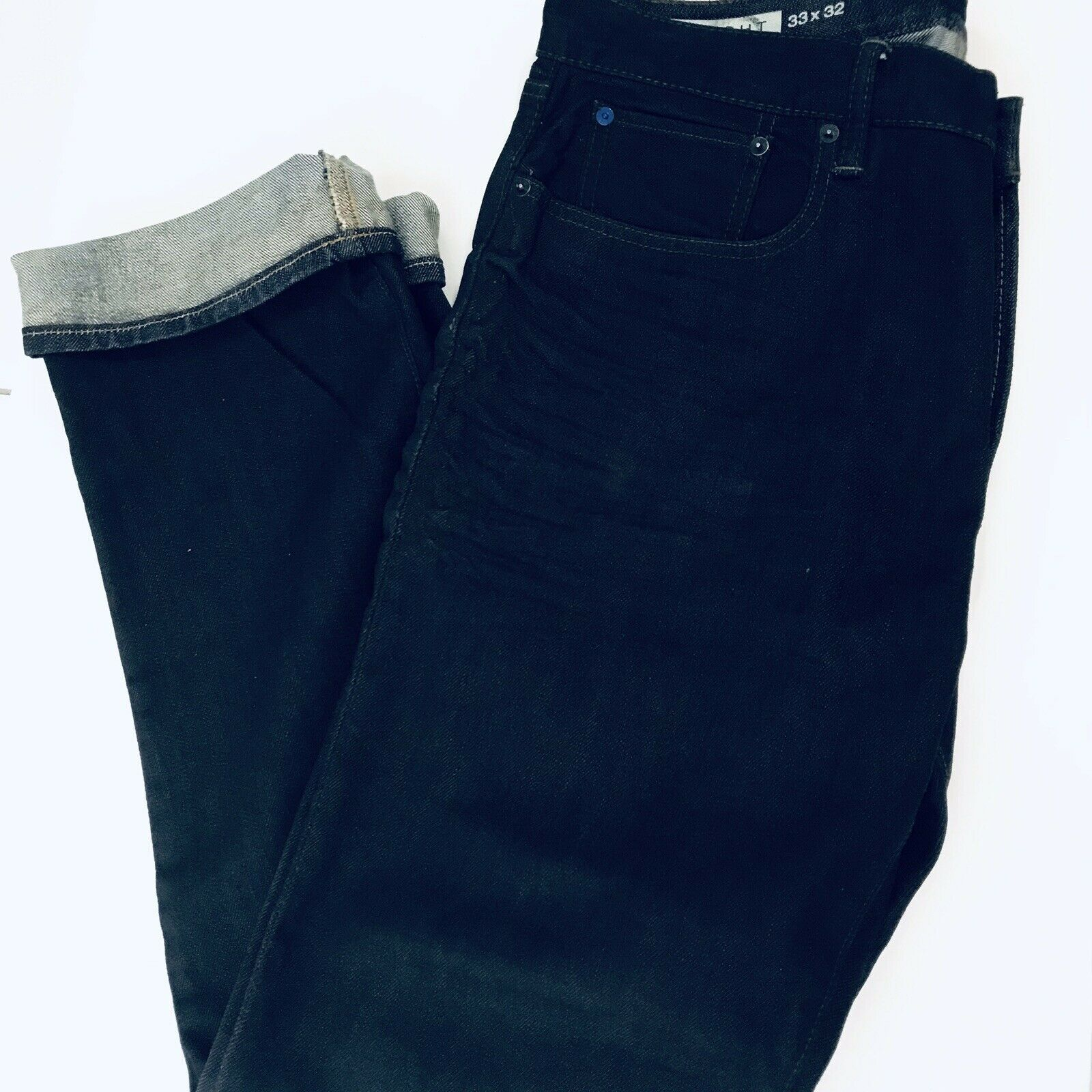 Men's GAP 1969 Jeans Straight Leg 33x32 Dark Wash Ring-Spun Denim Cotton Jeans