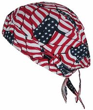 New Unisex Cotton Premium Lined Multi USA American Flag Do Rag Head Wrap
