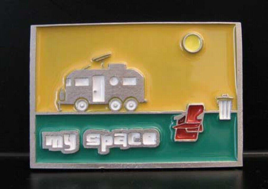 Buckle mit Wohnwagen, my Space, Camping, Wohnmobil, Gürtelschnalle