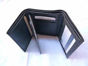 Original Leather Tri Fold Money Wallet Purse for Men Gents with Card Slots -Black