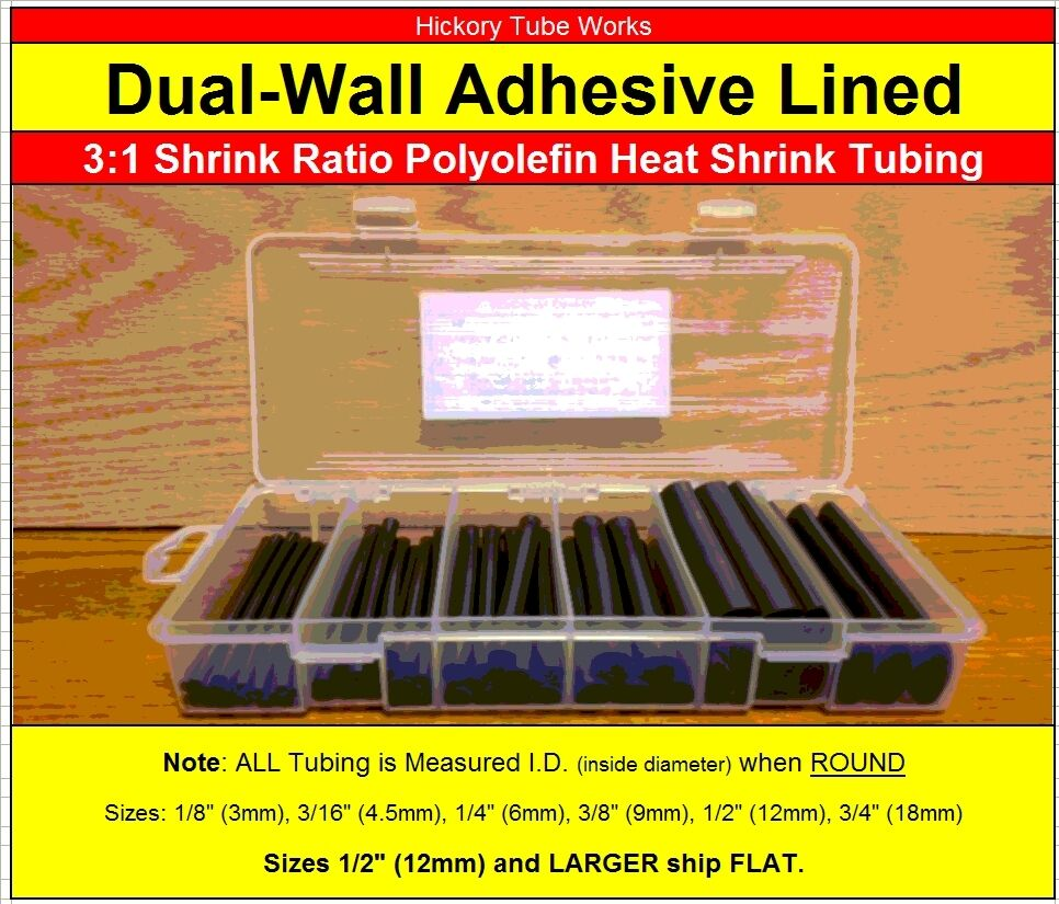 3//8 1//8 3//16 Black : 1//2 1//4 Dia Marine Wire Cable Sleeve Tube Assortment with Storage Case for DYI by MILAPEAK 3//32 6 Sizes 180 PCS 3:1 Dual Wall Adhesive Heat Shrink Tubing kit