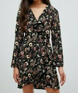 Parisian-Women-039-s-Black-Floral-Wrap-Frill-Dress-Size-10-New-With-Tags