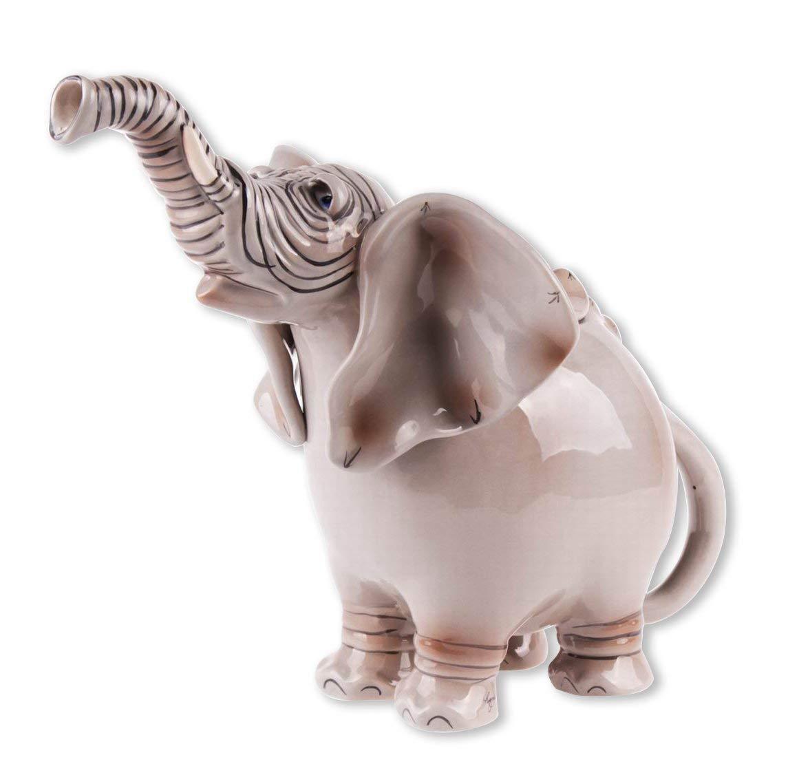 ELEPHANT peint à la main en céramique Théière, par Ciel Bleu Céramique, 10  Tall