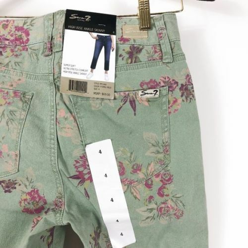 Nwt Womens Seven High Rise Ankle Skinny Pants Jeans Floral Field Green Purple