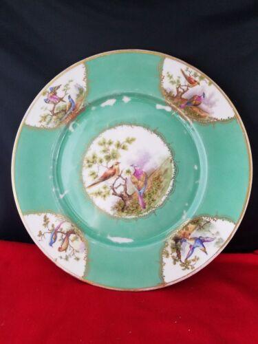 VINTAGE UNION T CZECHO-SLOVAKIA CHINA DINNER PLATE BIRDS PATTERN 10 1/2