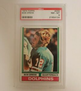 1974 Topps Football Bob Griese #200 PSA 8