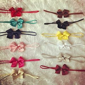 Baby-Girls-Small-Tiny-Bow-6cm-Headband-Skinny-Elastic-Band-Hair-Accessories-Lot
