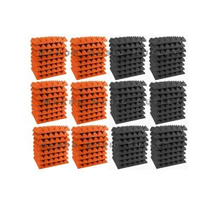 Acoustic-Foam-Pyramid-96-pack-ORANGE-amp-GRAY-12x12x2-Studio-Soundproofing-tiles