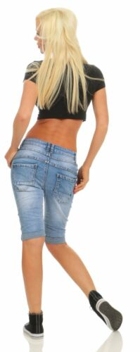11512 Damen Jeans Bermuda Hose Boyfriend Denim Shorts Haremscut Knopfleiste