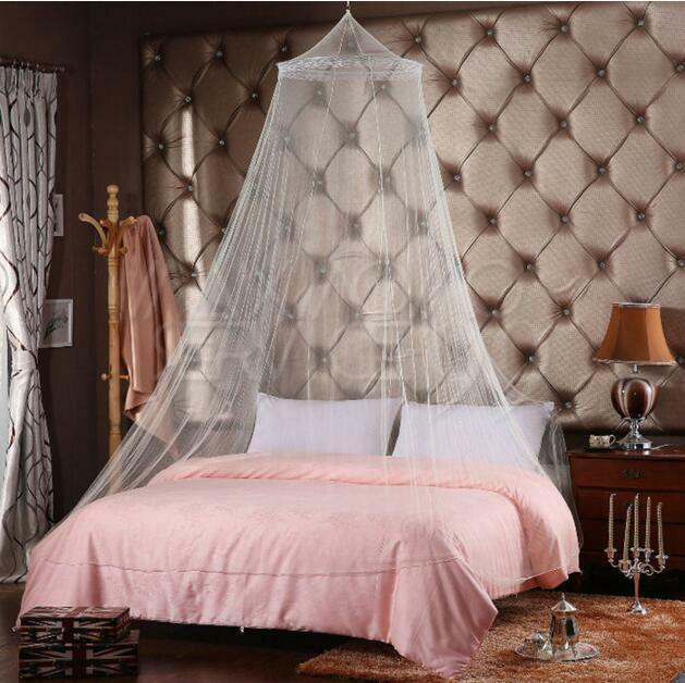 White Lace Bed Mosquito Netting Mesh Canopy Princess Round Dome Bedding Netting