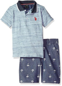 US Polo Assn Toddler//Litlte Boys Polo /& Denim Short Set Size 2T 3T 4T 4 5 6 7
