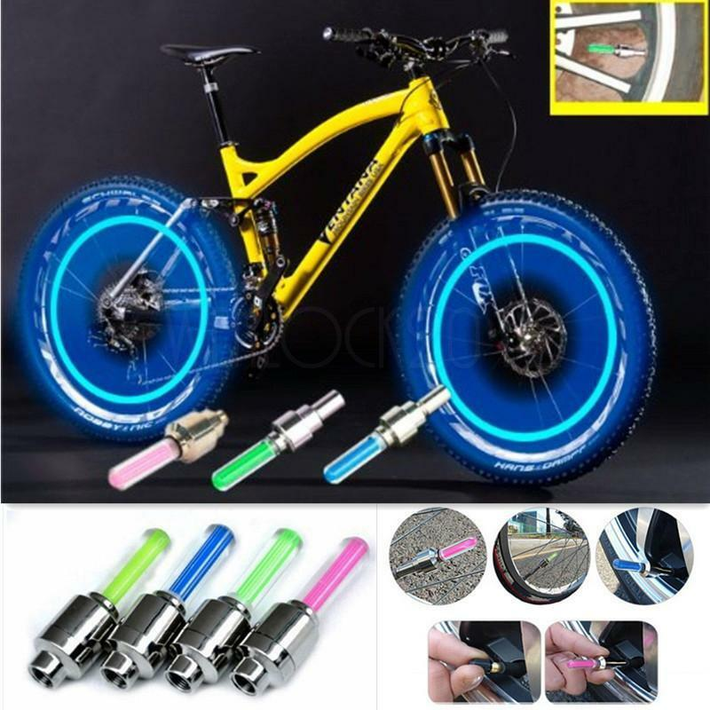4 Multi Color Flash LED Bike Car Motor Wheel Tyre Light Tire Valve Neon Dust Cap