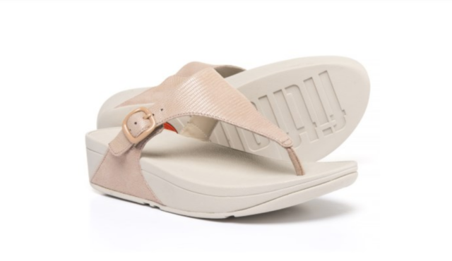 e7a1a23fe FitFlop Womens The SKINNY Lizard Print Flip Flop Nude Pink 8 M US