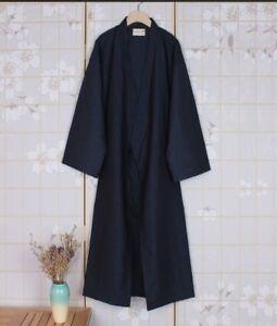Men Kimono Yukata Japanese Long Bathrobe Pajamas Belt Cotton Robe Costume Casual