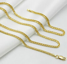 """15.7"""" L 18K Solid Yellow Gold Necklace / Men&Women Wheat Link Chain necklace"""