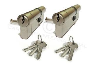 2 X Sicher Euro Türschlösser 40/45 Nickel Abschluss Gleichschließend 3 Keys Pro
