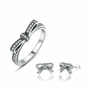 Sparkling-Bow-CZ-Jewelry-Set-Authentic-925-Sterling-Silver-Women-Ring-amp-Earrings
