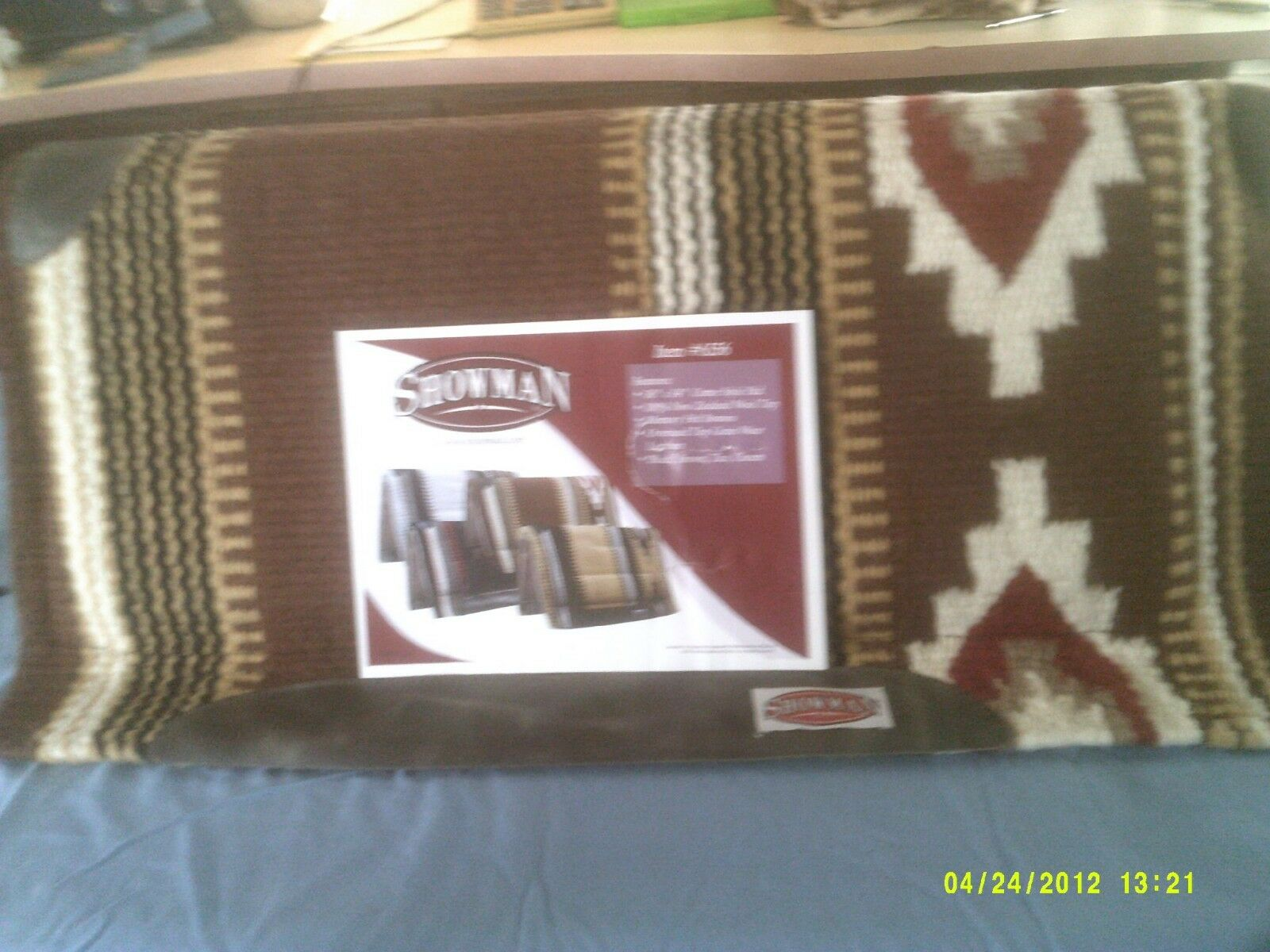 Saddle Pad Showman Memory Foam Aztec Pattern , Marronee,Tan rosso and Cream,