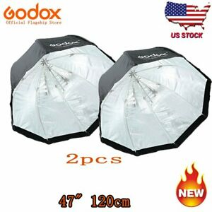 2pcs-Godox-120cm-47-034-Softbox-Bowens-Octagon-Mount-For-Studio-Strobe-Camera-Flash