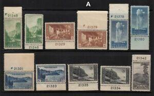 1934-National-Parks-Sc-740-9-MNH-mixed-plate-number-singles-Hebert-CV-38