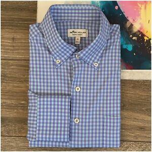 PETER-MILLAR-Summer-Comfort-Mens-M-Medium-Button-Down-Long-Sleeve-Shirt-Plaid