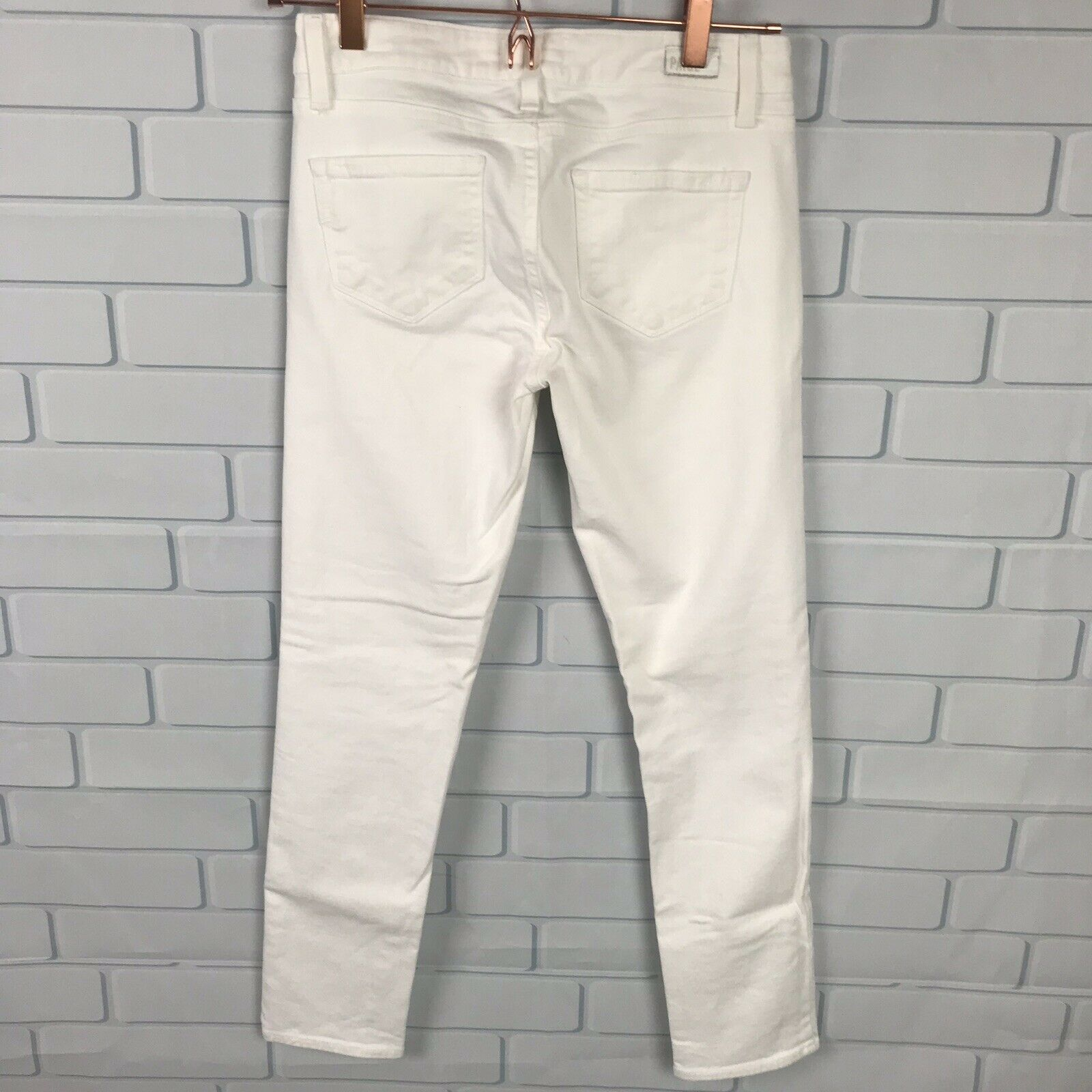 PAIGE Size 26 Denim Skyline Ankle Peg Skinny Jeans Off White 26x27