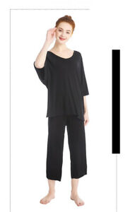 Anna-Kaci-Women-039-s-Solid-Summer-Pleated-Loungewear-Top-and-Capris-Pajamas-Sets