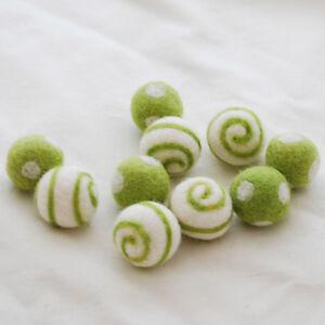 2.5cm 100/% Wool Felt Balls 10 Goldenrod Yellow Polka Dots Swirl Felt Balls