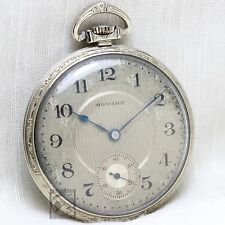 White Gold E. Howard 19 Jewel Mechanical Pocket Watch c.1921 Antique Adj 5p USA