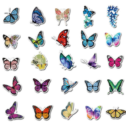 50Pcs Butterfly Stickers Decals for Laptop Guitar Luggage Graffiti Wall Decor