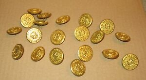 """20 BALTIMORE CITY POLICE (Maryland) Used 1"""" Coat Buttons - Waterbury Button Co."""