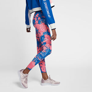 top design available sells Details about Nike Women's Graphic Leg a See Have a Nice Day Leggings M  Pink Blue