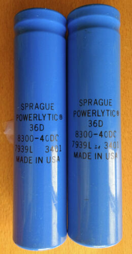 2 Two Sprague Powerlytic 36D 8300uF 40V New Capacitors