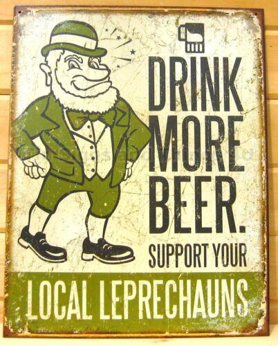 Leprechauns Drink More Beer TIN SIGN irish pub bar decor funny metal poster 1827