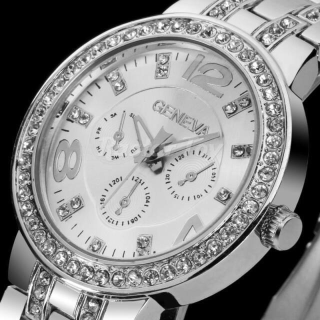 GENEVA Damen uhr mit Strass Quarzuhr Edelstahl Armbanduhr Damenuhr HOT