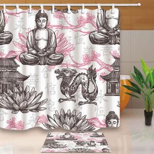 Image Is Loading Asian Pagoda Building Lotus Flower Dragon Bathroom Shower