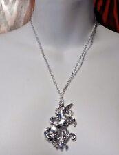 SILVER UNICORN NECKLACE mythical horse medieval crest pendant amulet charm M3