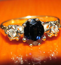 STUNNING SECONDHAND 18ct GOLD BLUE DARK SAPPHIRE AND DIAMOND  RING SIZE M1/2