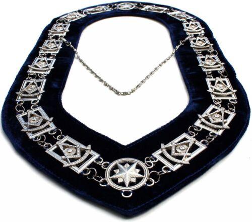 Silver Pendant Masonic Regalia PAST MASTER Metal Chain Collar BLUE Backing