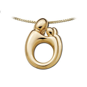 Mother and child small twin or 2 children pendant in 14k yellow gold image is loading mother and child small twin or 2 children aloadofball Images