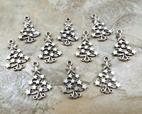Set Of 10 Pewter Christmas Tree With Star Decoration Charms -5311