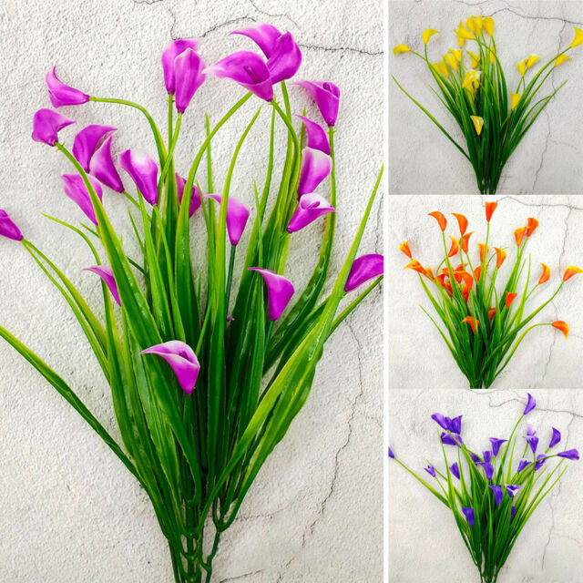 Plastic In Outdoor Artificial Flowers Fake Silk False Plants Grass Garden Decort For Sale Online Ebay