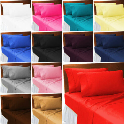Fitted BED Sheet Small 4ft  Double with Pillowcase Pair Plain Dyed Poly Cotton