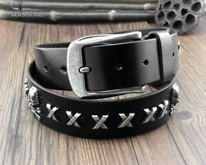 Mens-Skull-X-Studded-Pin-Buckle-Cow-Leather-Biker-Punk-Belt-many-sizes