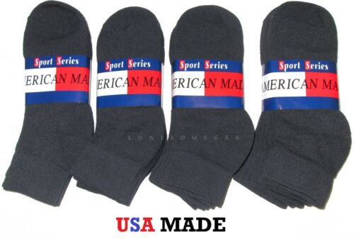 12 Pairs Womens Black Ankle Cushioned Athletic Socks Medium Weight USA Made