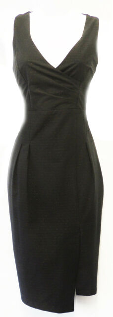 New Ladies Retro 1950's style Black Rockabilly Pencil Wiggle Pin-up Dress