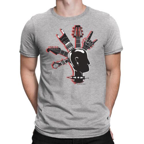 Mens T-Shirt Cool GUITAR MOHAWK Band Guitar Drums Rock Punk Novelty Music
