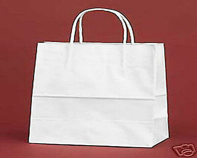 "250 PCS White Vogue 16x6x12"" Kraft Paper Retail Shopper Gift Bag Shopping Bags"