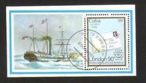 9298-Cuba-s-sheet-Michel-BL-120-ships-stamps-on-stamps